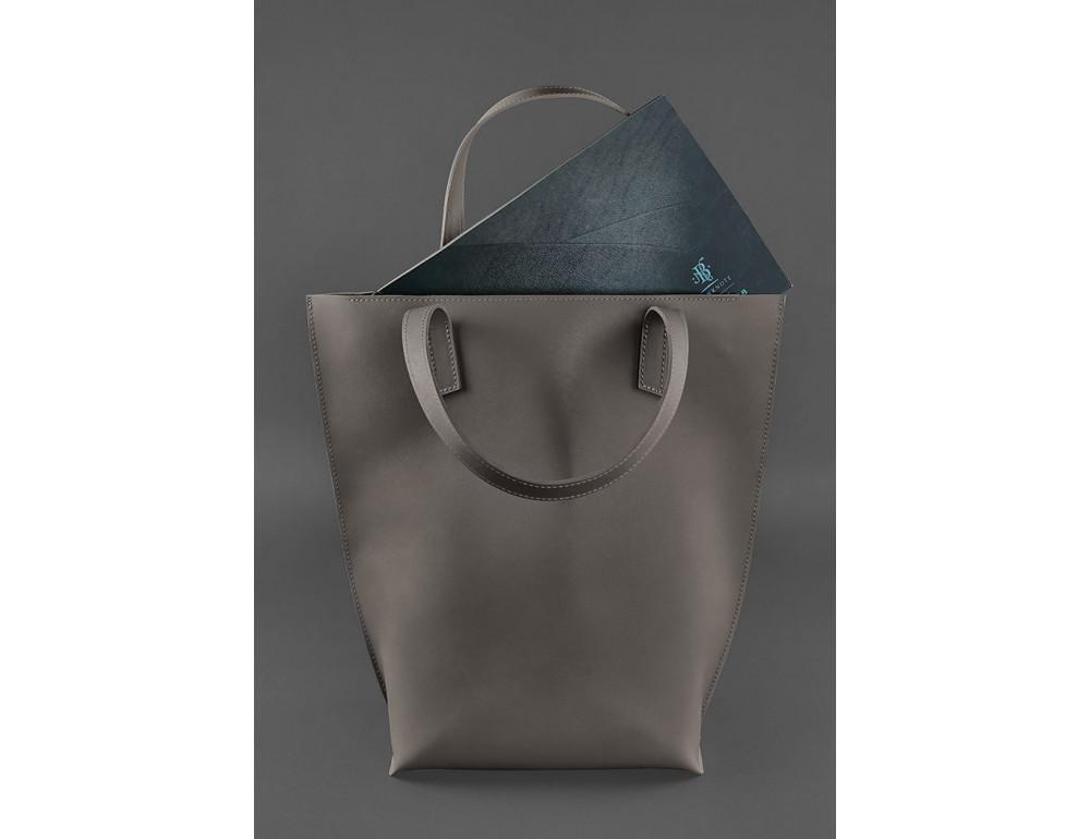 Тёмно-бежевая кожаная сумка шоппер Blancnote BN-BAG-17-BEIGE - Фото № 3