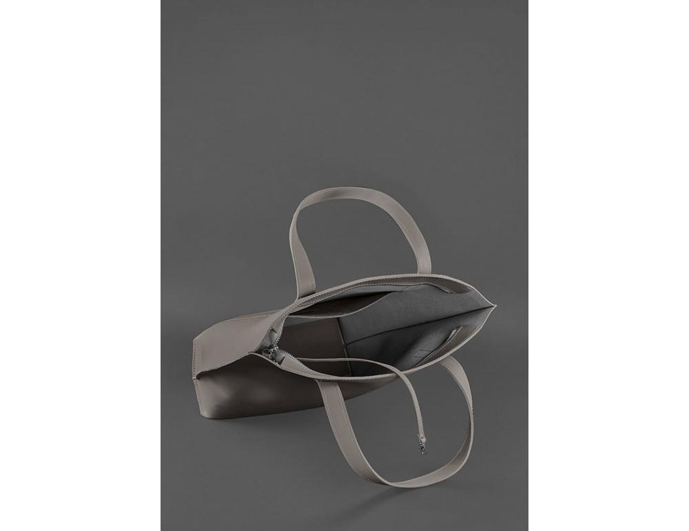 Тёмно-бежевая кожаная сумка шоппер Blancnote BN-BAG-17-BEIGE - Фото № 6