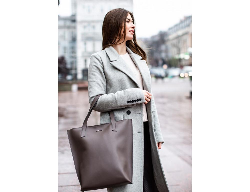 Тёмно-бежевая кожаная сумка шоппер Blancnote BN-BAG-17-BEIGE - Фото № 7