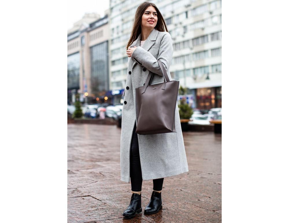 Тёмно-бежевая кожаная сумка шоппер Blancnote BN-BAG-17-BEIGE - Фото № 8