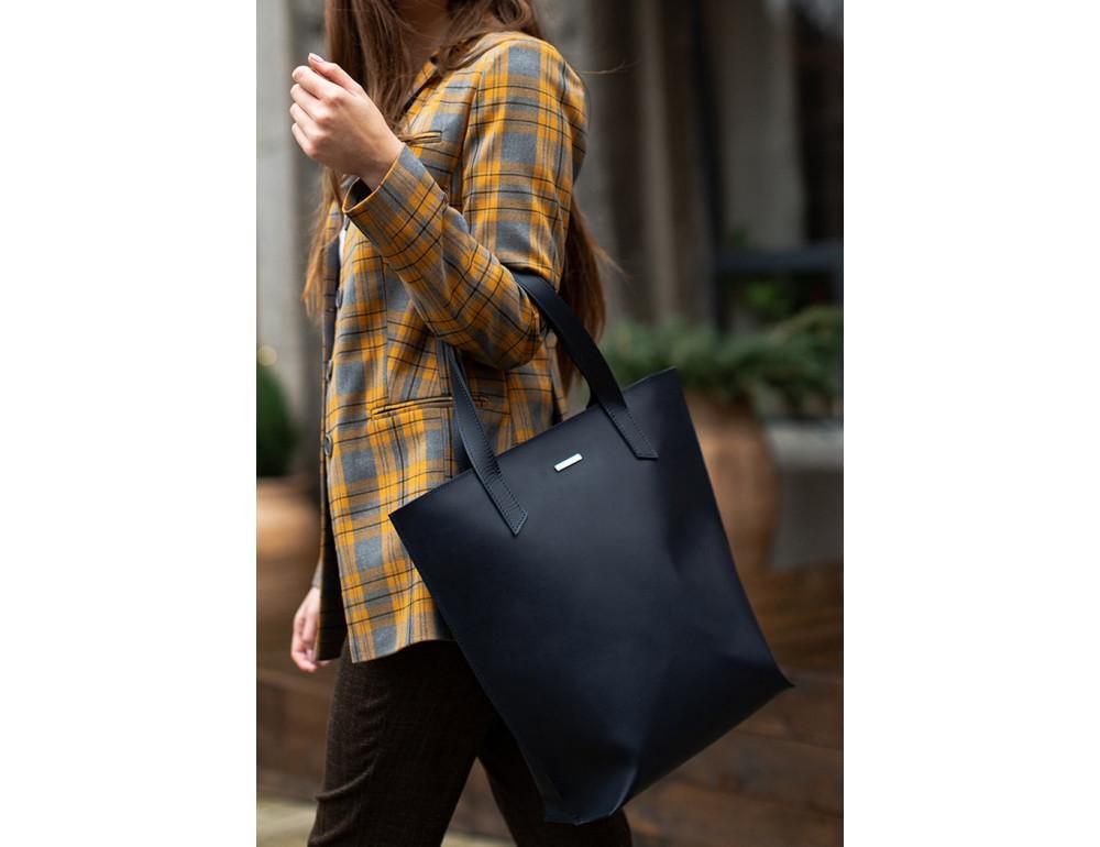 Темно-синя велика шкіряна сумка жіноча BN-BAG-17-NAVY-BLUE - Фотографія № 2