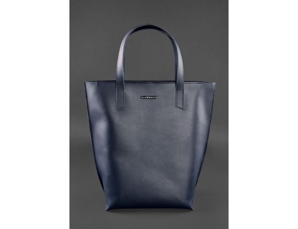 Темно-синя велика шкіряна сумка жіноча BN-BAG-17-NAVY-BLUE - Фотографія № 1