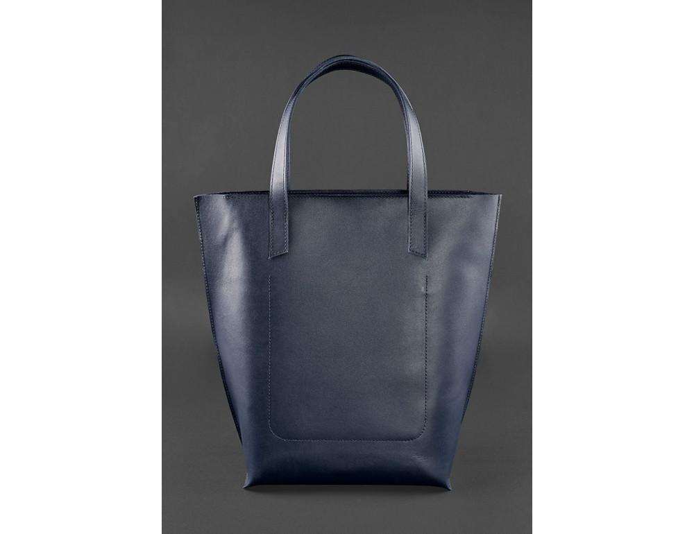 Темно-синя велика шкіряна сумка жіноча BN-BAG-17-NAVY-BLUE - Фотографія № 3