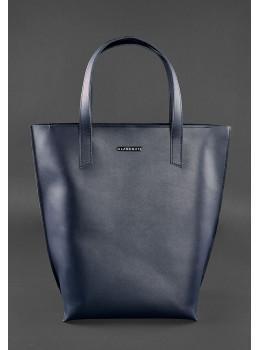 Тёмно-синяя большая кожаная сумка женская BN-BAG-17-NAVY-BLUE