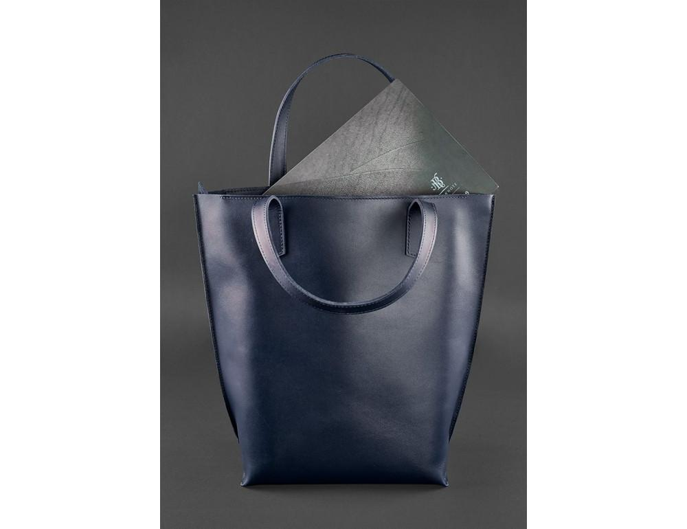 Темно-синя велика шкіряна сумка жіноча BN-BAG-17-NAVY-BLUE - Фотографія № 4