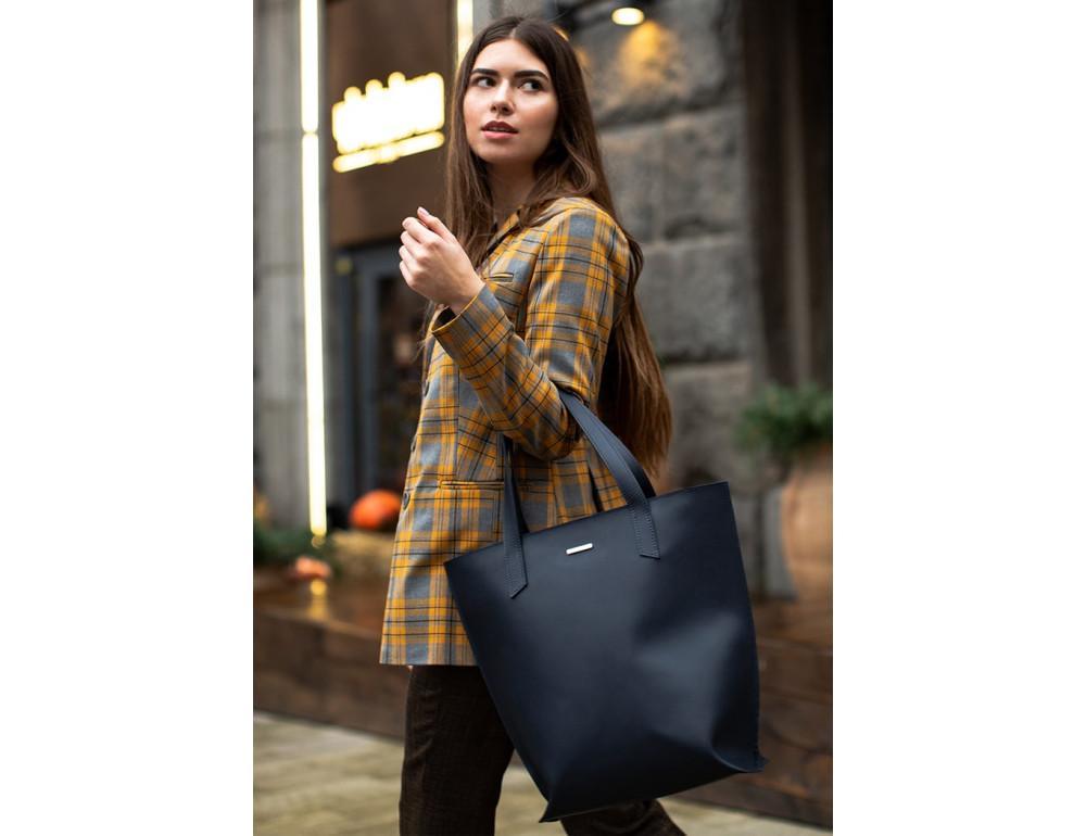 Темно-синя велика шкіряна сумка жіноча BN-BAG-17-NAVY-BLUE - Фотографія № 7
