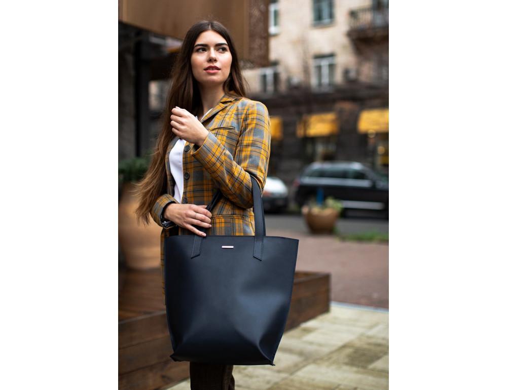 Темно-синя велика шкіряна сумка жіноча BN-BAG-17-NAVY-BLUE - Фотографія № 8