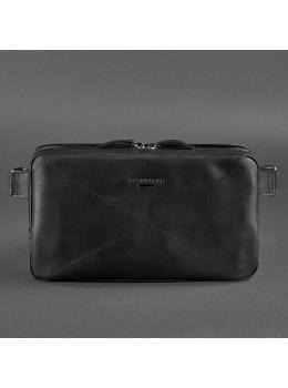 Черная кожаная сумка на пояс средняя Blancnote BN-BAG-20-G-KR