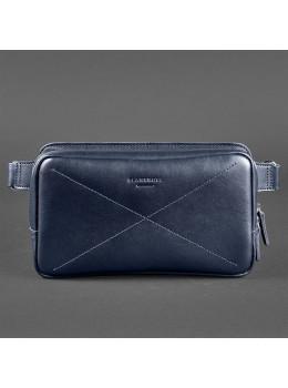 Тёмно-синяя кожаная сумка на пояс Blanknote BN-BAG-20-navy-blue