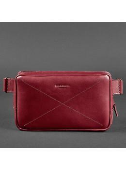 Бордовая кожаная сумка на пояс Blancnote BN-BAG-20-vin