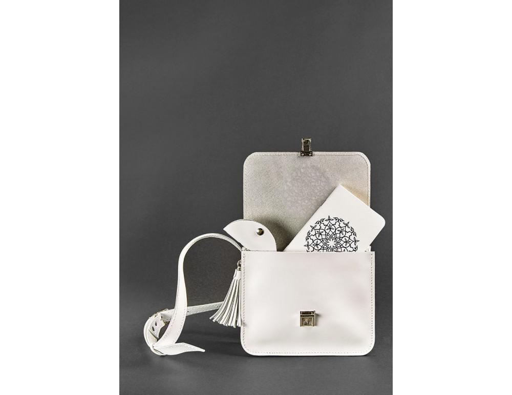 Белая кожаная маленькая сумочка Blancnote BN-BAG-3-LIGHT - Фото № 2