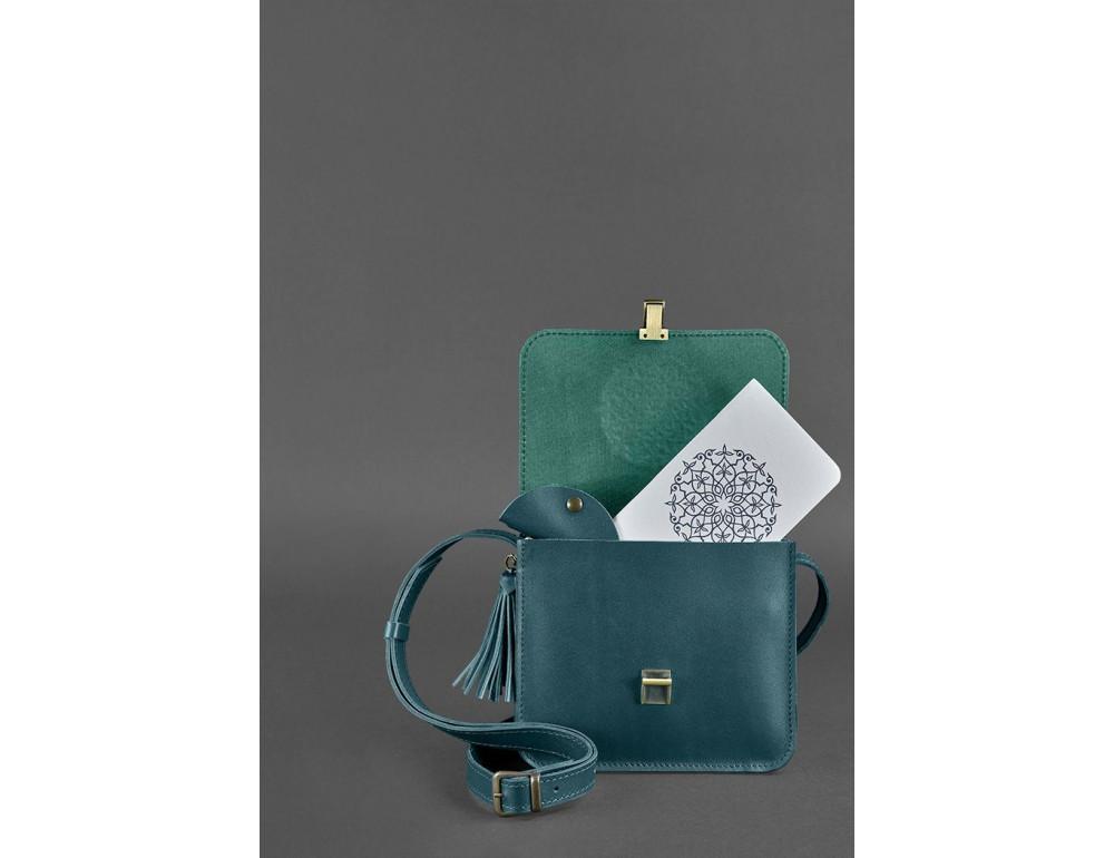 Зелёная кожаная сумочка через плечо Blancnote BN-BAG-3-malachite - Фото № 2
