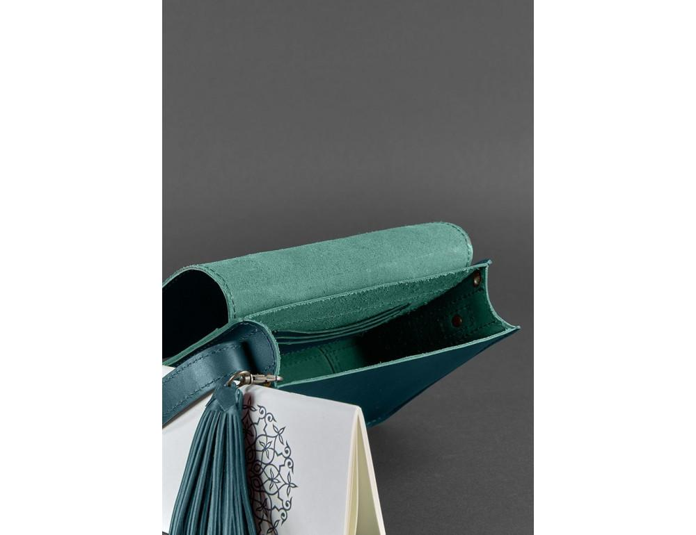 Зелёная кожаная сумочка через плечо Blancnote BN-BAG-3-malachite - Фото № 3