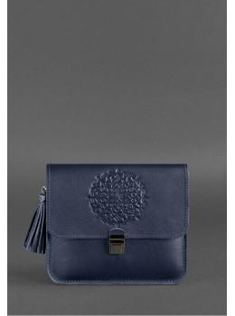 Тёмно-синяя кожаная сумка через плечо Blancnote BN-BAG-3-NAVY-BLUE