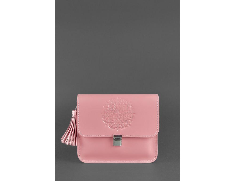 Кожаная сумка бохо Лилу Blanknote BN-BAG-3-pink-peach розовый персик