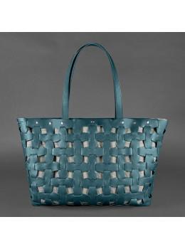 Зелёная огромная сумка-шоппер женская Blancnote BN-BAG-34-MALACHITE