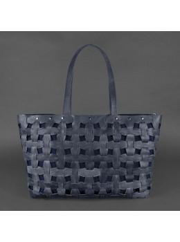 Синяя огромная кожаная сумка пазл Blancnote BN-BAG-34-NN