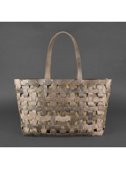 Коричневая кожаная сумка огромный шоппер Blancnote BN-BAG-34-O