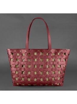 Бордовая кожаная сумка шопер Blancnote BN-BAG-34-VIN