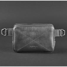 Чорна шкіряна сумка на пояс прямокутна Blancnote BN-BAG-6-G