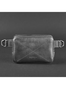 Чёрная кожаная сумка на пояс прямоугольная Blancnote BN-BAG-6-G