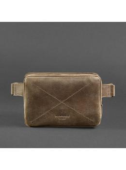 Коричневая ожаная сумка на пояс Blanknote BN-BAG-6-O