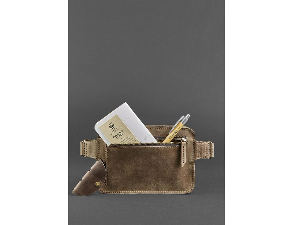 Коричнева ожаная сумка на пояс Blanknote BN-BAG-6-O - Фотографія № 6