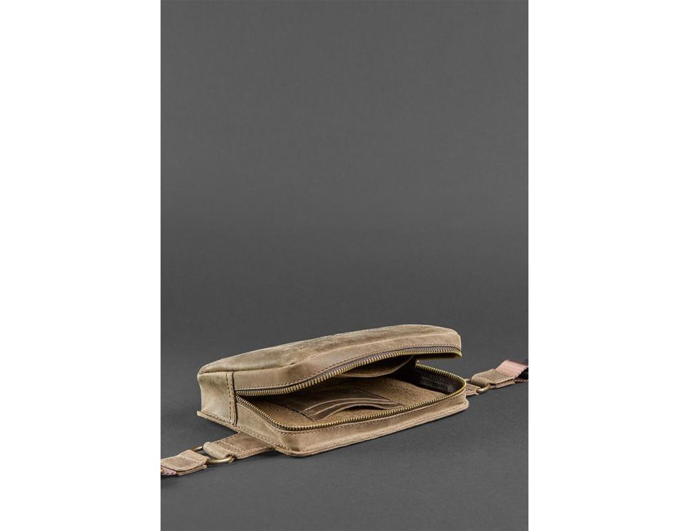Коричнева ожаная сумка на пояс Blanknote BN-BAG-6-O - Фотографія № 7