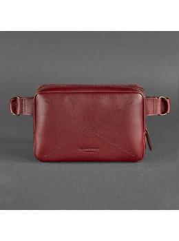 Бордовая кожаная сумка на пояс Blancnote BN-BAG-6-VIN