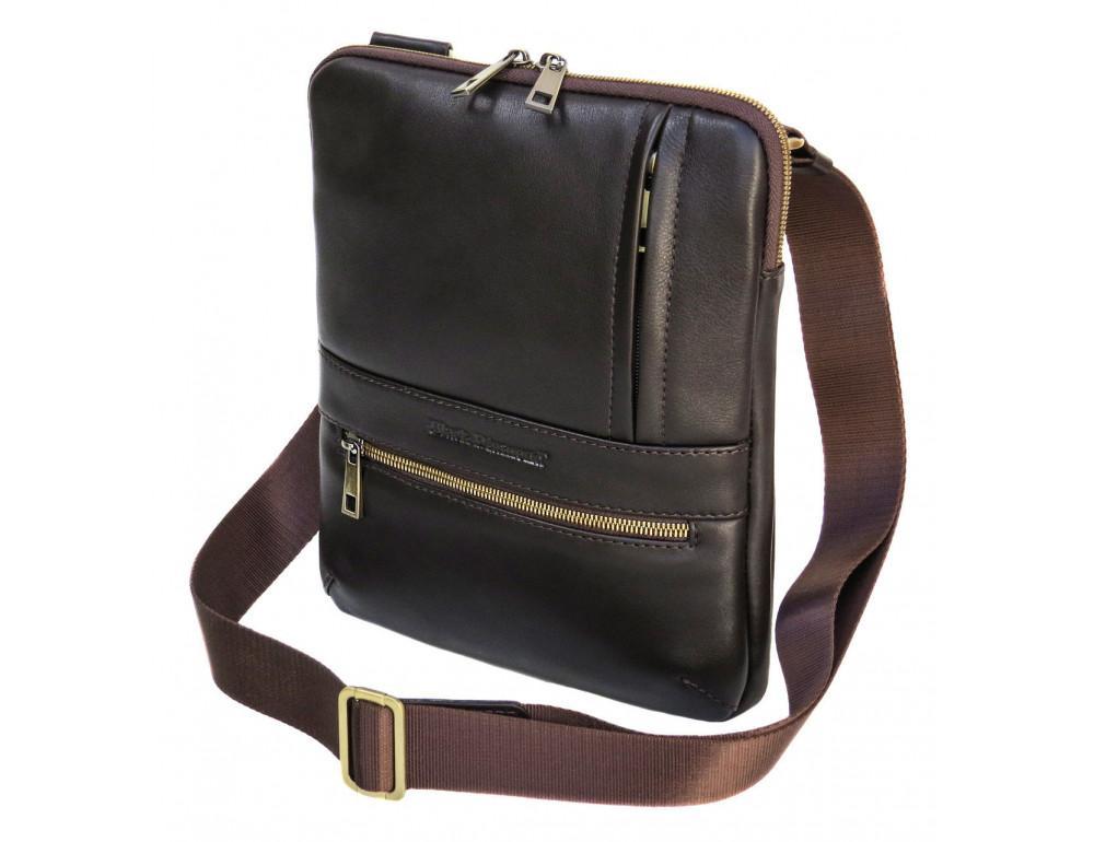 Мужская кожаная сумка-мессенджер black diamond bd13c тёмно-коричневая