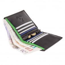 Маленький мужской кошелёк Visconti BD14 BK/CB/GRN James (Black Cobalt Green)