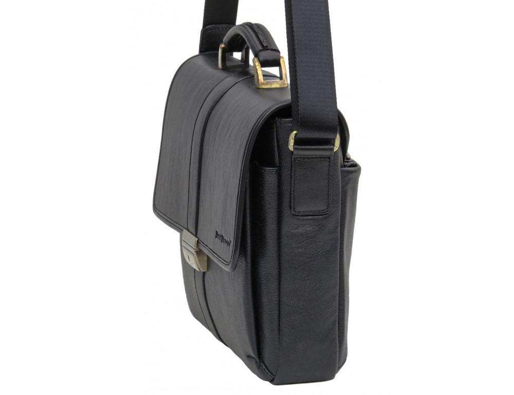 Мужской кожаный портфель black diamond bd19a чёрный - Фото № 3