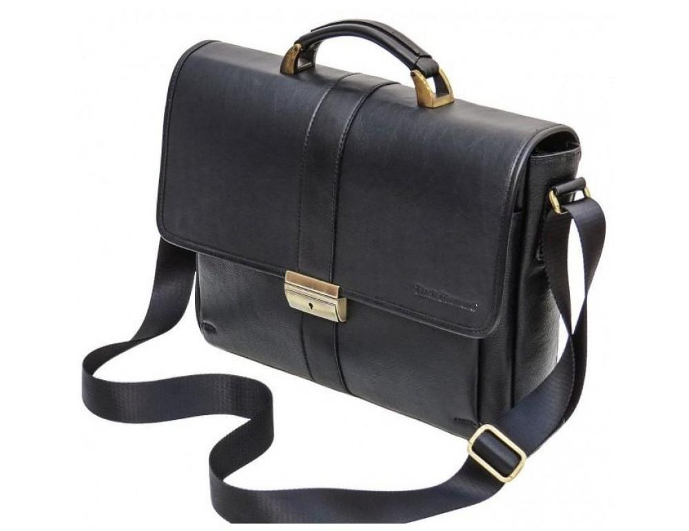 Мужской кожаный портфель black diamond bd19a чёрный - Фото № 7