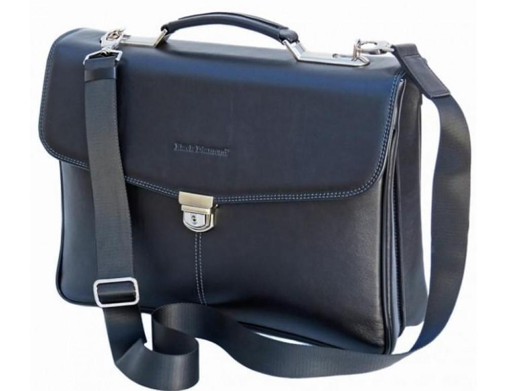 Мужской кожаный портфель Black Diamond BD21A чёрный - Фото № 3