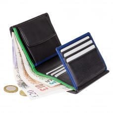 Маленький мужской портмоне в два сложения Visconti BD22 BK/CB/GRN Dr. No (Black Cobalt Green)