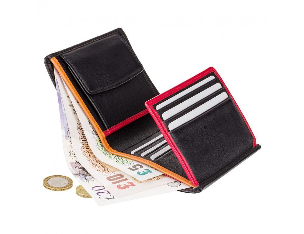 Маленький мужской кошелёк Visconti BD22 BK/RD/OR Dr. No (Black Red Orange)