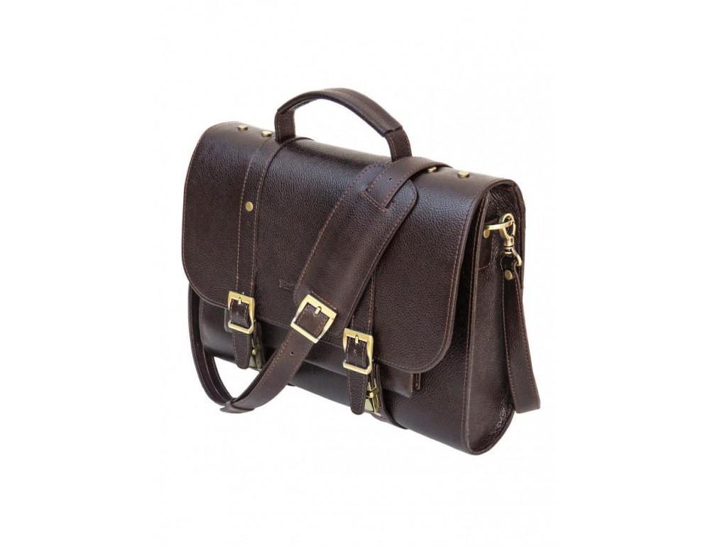 Мужской кожаный портфель black diamond BD33CF коричневый - Фото № 10