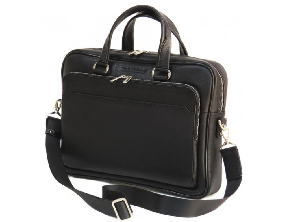 Чорна чоловіча шкіряна сумка Black Diamond BD6A - Фотографія № 3