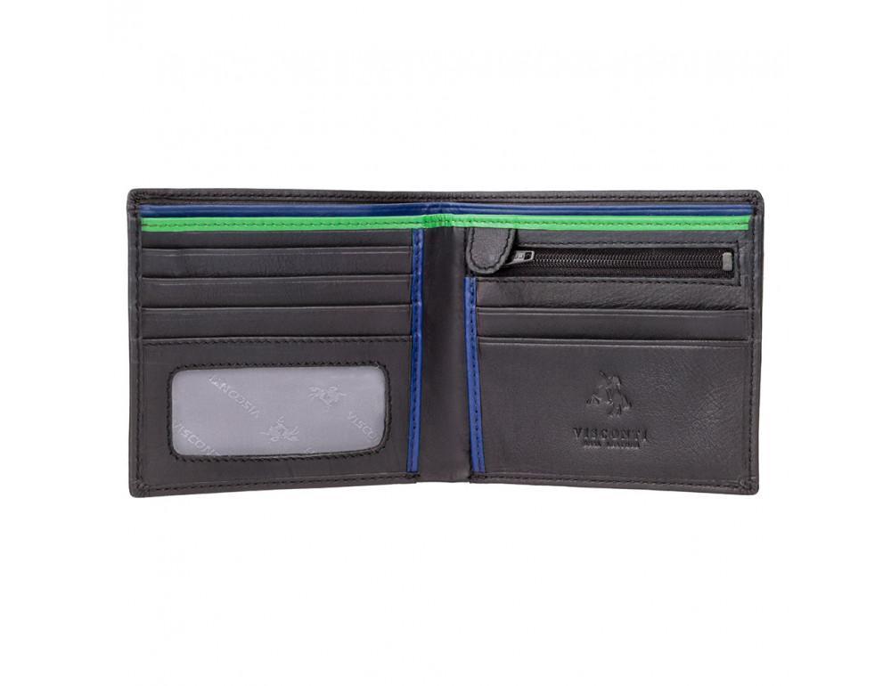 Чёрный кожаный портмоне Visconti BD707 BK/CB/GRN Le-chifre - Фото № 2
