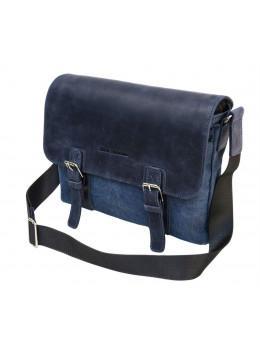 Синяя мужская сумка через плечо из ткани и кожи Black Diamond bdt53v1dcrh