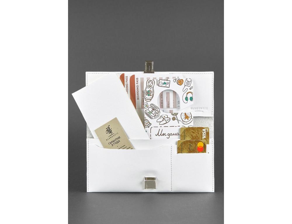 Белый кожаный травел-кейс под документы Blanknote BN-TK-2-LIGHT - Фото № 3