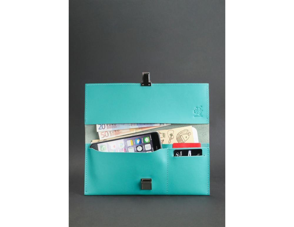 Бирюзовый кожаный органайзер под документы Blanknote BN-TK-2-TIFFANY - Фото № 3