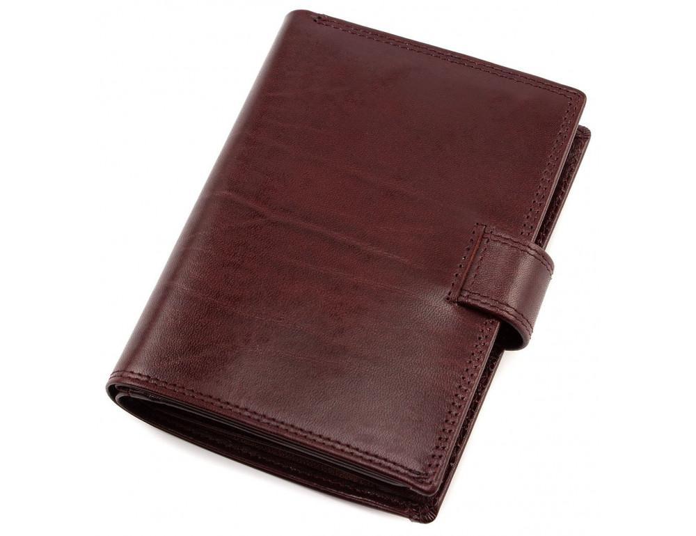 Мужской кожаный портмоне с отделением под паспорт коньячного цвета Marco Coverna BK003-808 wine red - Фото № 2