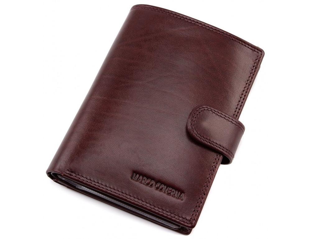 Мужской кожаный портмоне с отделением под паспорт коньячного цвета Marco Coverna BK003-808 wine red - Фото № 1