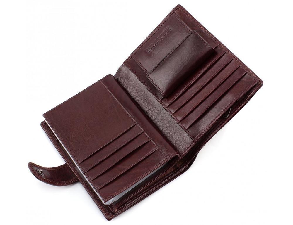 Мужской кожаный портмоне с отделением под паспорт коньячного цвета Marco Coverna BK003-808 wine red - Фото № 3