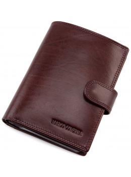 Мужской кожаный портмоне с отделением под паспорт коньячного цвета Marco Coverna BK003-808 wine red