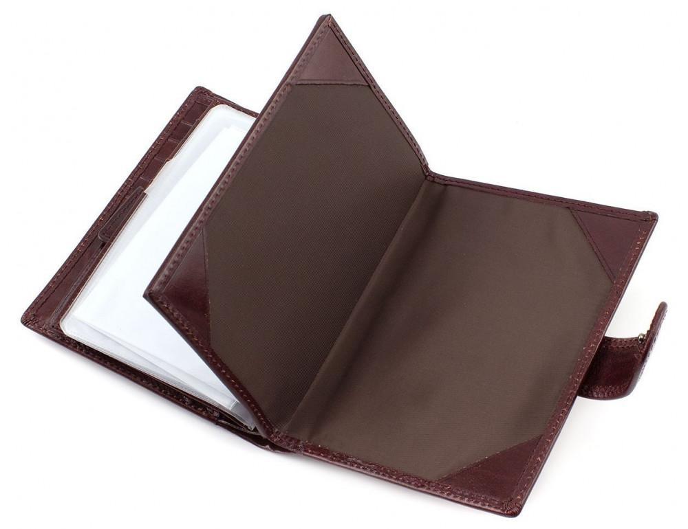 Мужской кожаный портмоне с отделением под паспорт коньячного цвета Marco Coverna BK003-808 wine red - Фото № 4