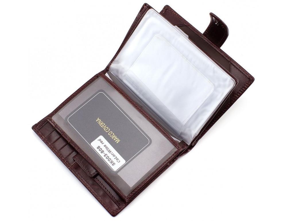 Мужской кожаный портмоне с отделением под паспорт коньячного цвета Marco Coverna BK003-808 wine red - Фото № 5