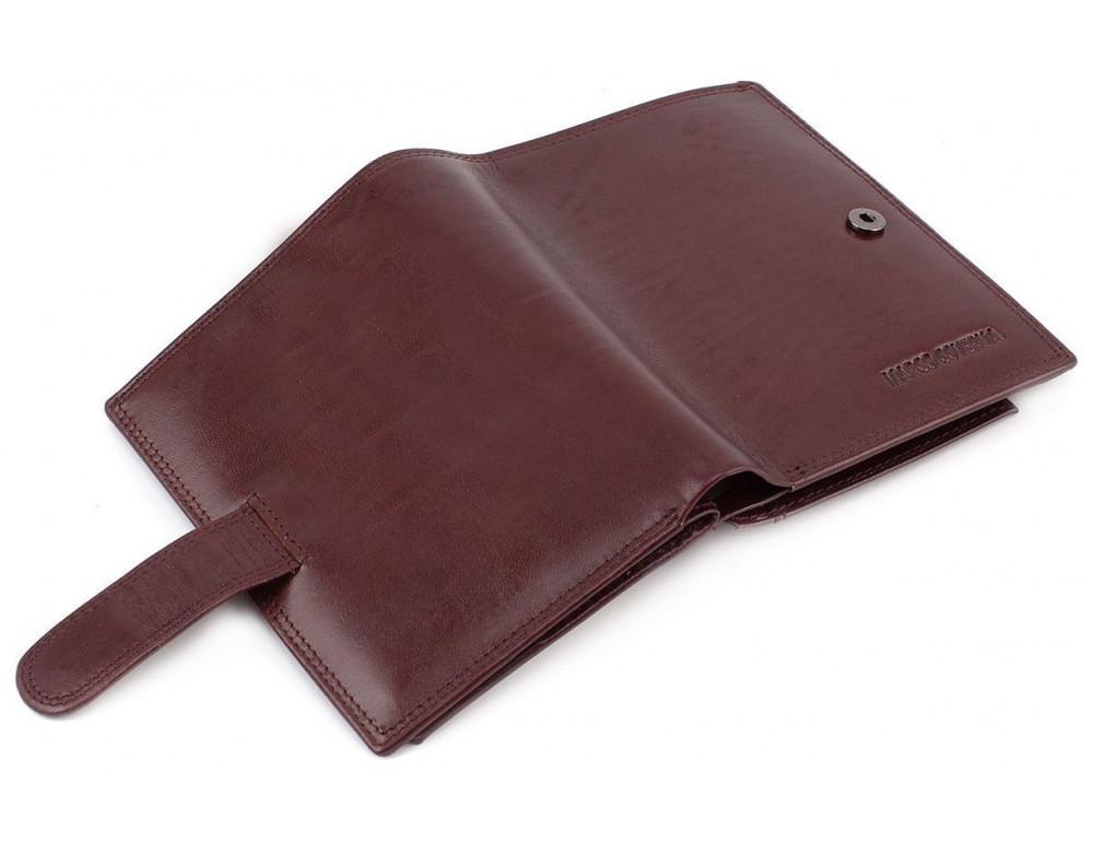 Мужской кожаный портмоне с отделением под паспорт коньячного цвета Marco Coverna BK003-808 wine red - Фото № 6