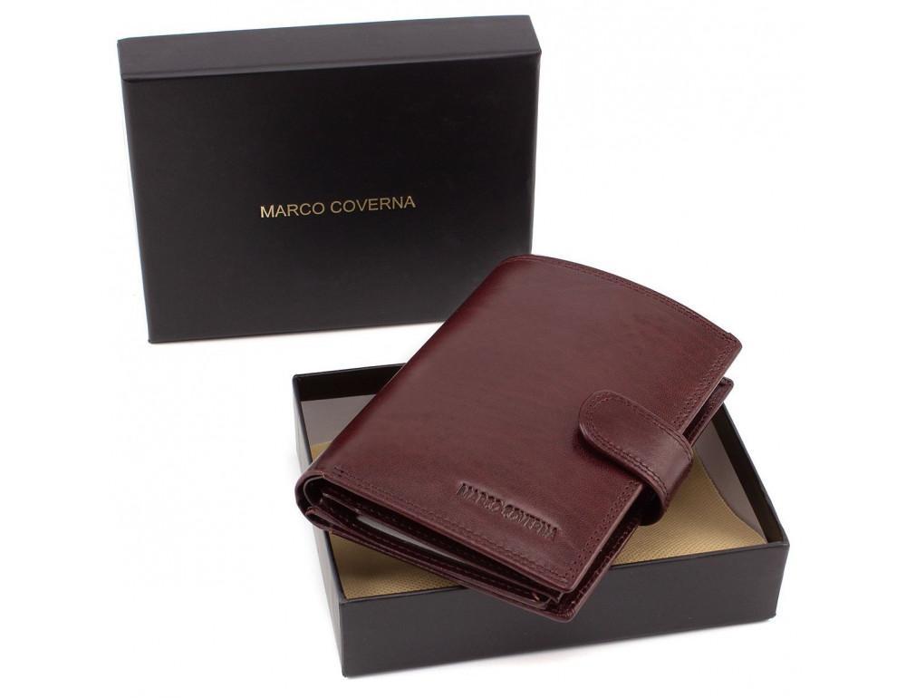 Мужской кожаный портмоне с отделением под паспорт коньячного цвета Marco Coverna BK003-808 wine red - Фото № 7